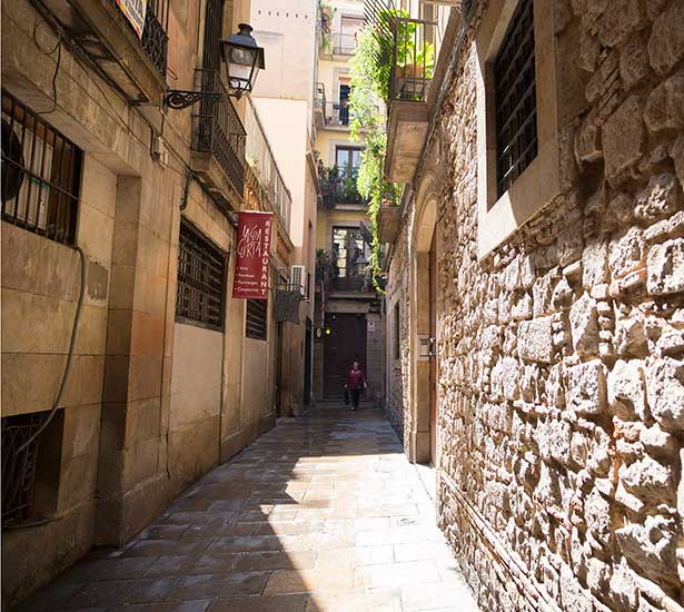Narrow street in the Gothic Quarter